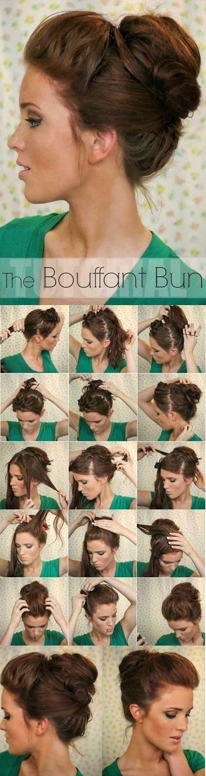 Bouffant Bun Peinado por un largo y grueso pelo