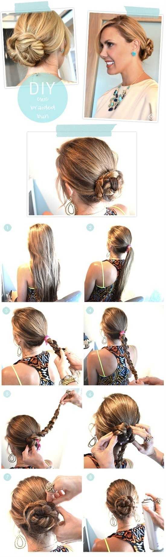 bollo trenzado Tutorial para el pelo largo