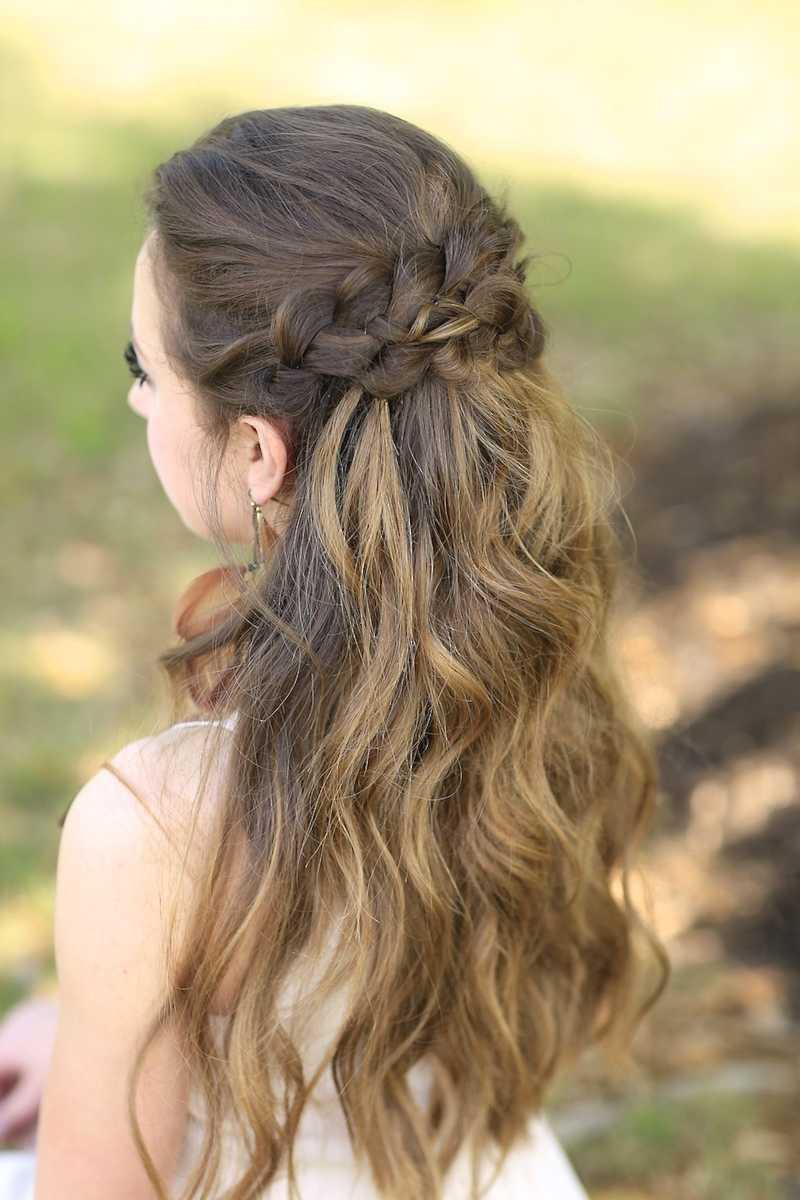 trenzado medio Hasta Prom peinados