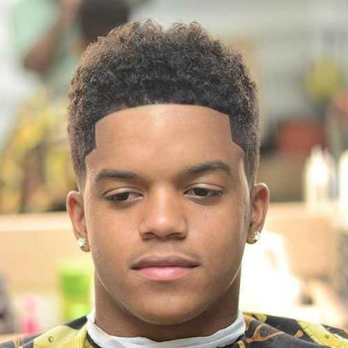 corte de pelo para cara redonda Negro Hombres