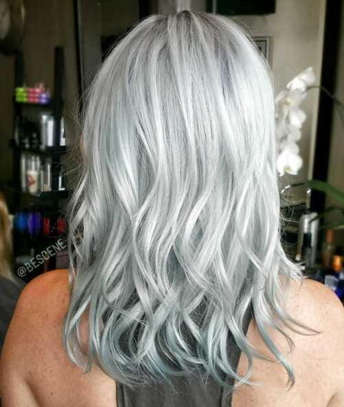 Medio Ondulado Peinado para Silver Cabello gris