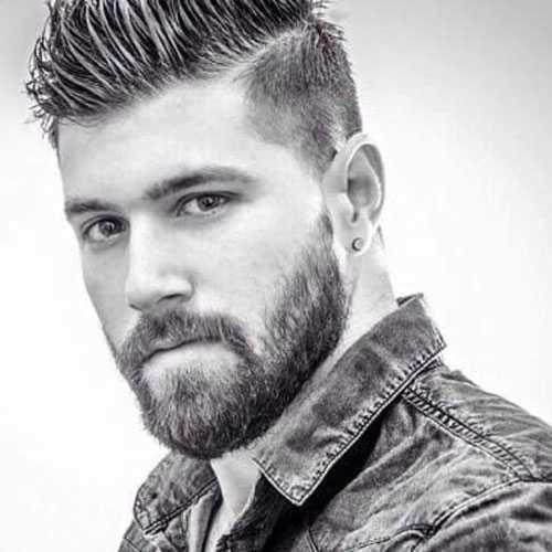 largo y rizado de la entalladura con la franja y la barba