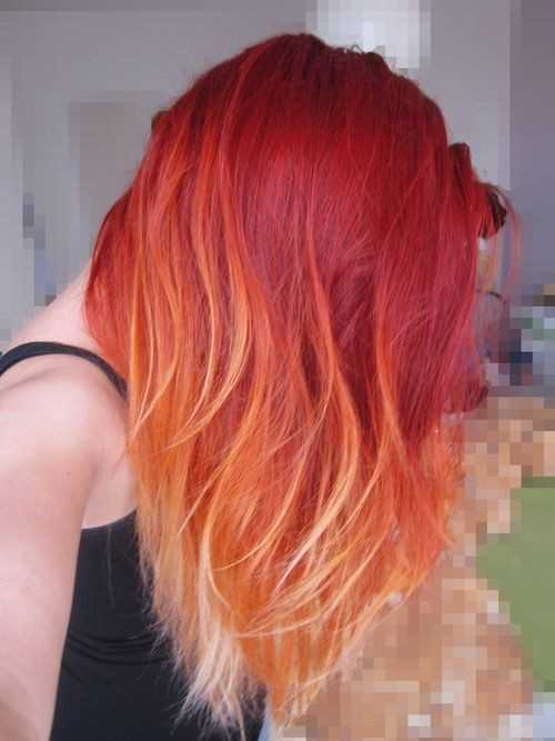 media eslora Peinado para Red Ombre Hair