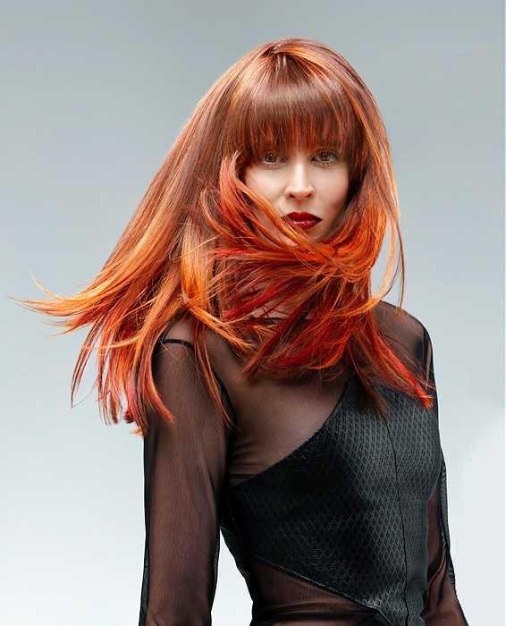 Naranja Rojo corte de pelo recto con Blunt Bangs