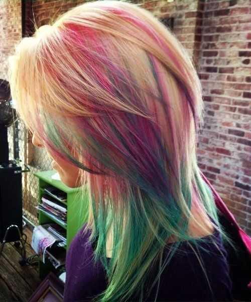 arco iris más destacado del pelo en capas para el 2016