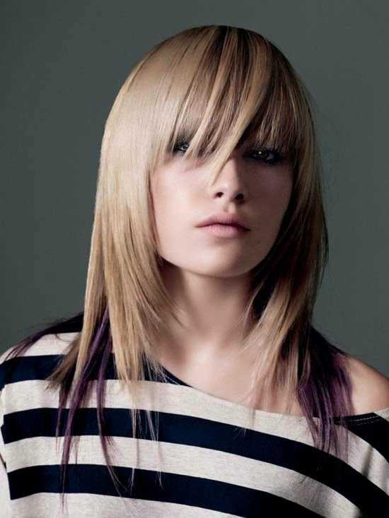 Thin Bangs con el pelo largo