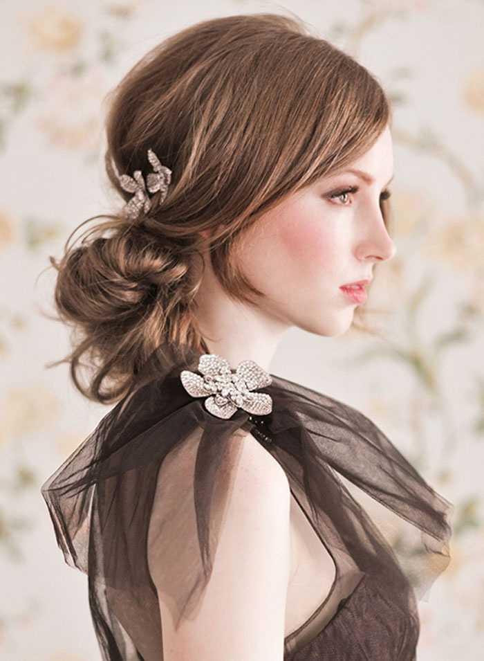 románticos Messy bollos peinados de boda