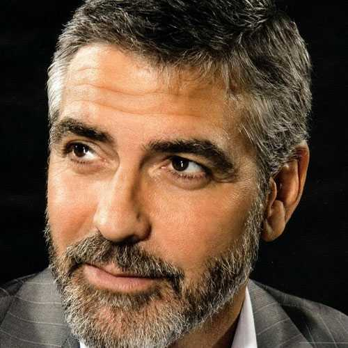El joven George Clooney Corte de pelo y la barba