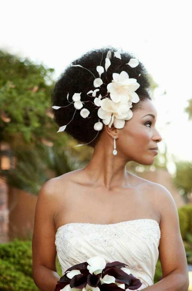 de boda peinados africanos con flores