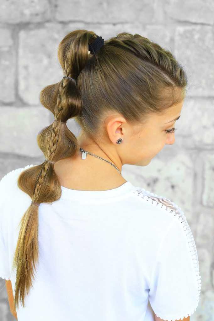 Stacked burbuja Braid | Volver a la Escuela de las muchachas linda peinados |