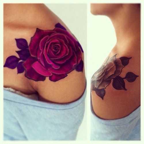 estilo del tatuaje de la flor - rosa tatuaje en los brazos