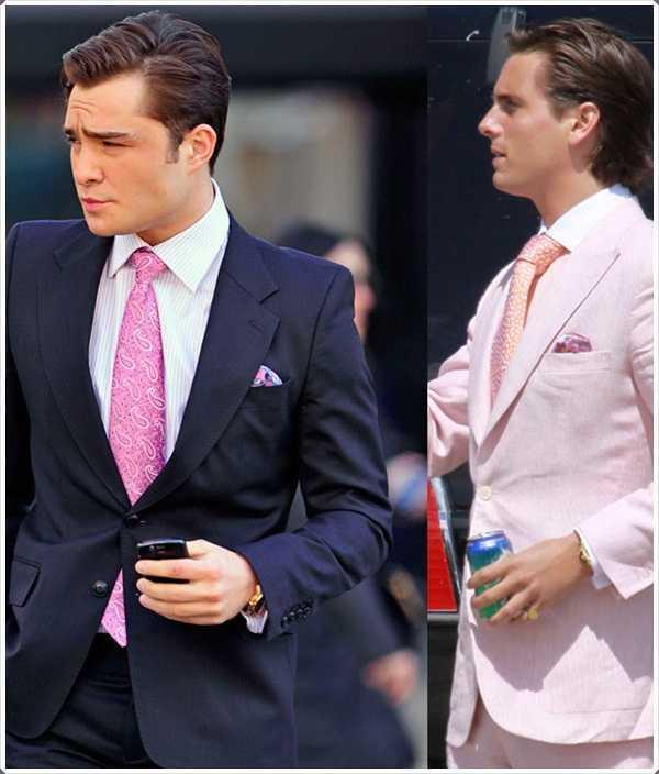 lazos de color rosa se llevan con un traje oscuro o un color más claro parecen siempre fabulosas