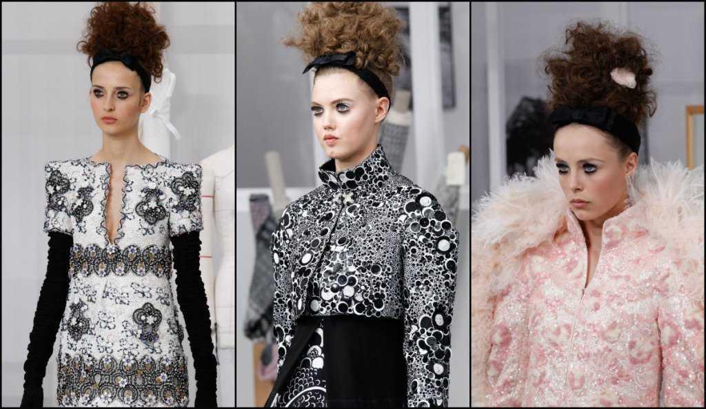 Chanel alta updo cortes de pelo rizado 2017 costura