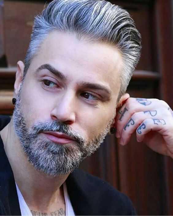 guapo de pelo gris hombre con la barba