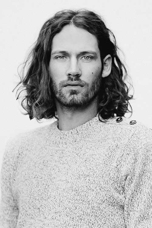 largo rizado Peinados para Hombres