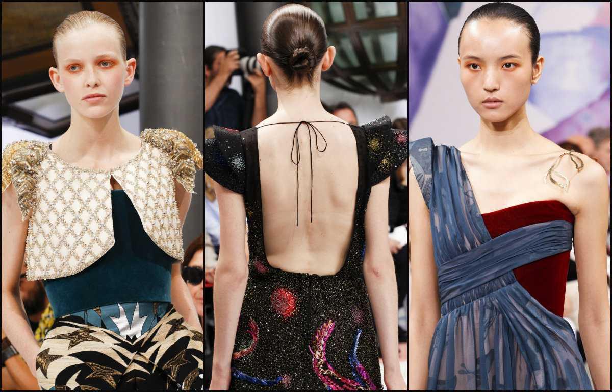 Schiaparelli peinados bollo peinado hacia 2017 costura