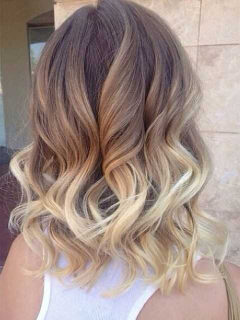 Ombre, Shoulder Length Curly Hairstyles for Women- Brown, Blonde Ombre